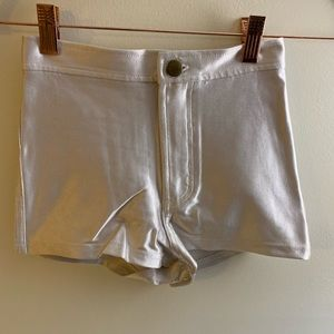 American apparel shiny disco white shorts